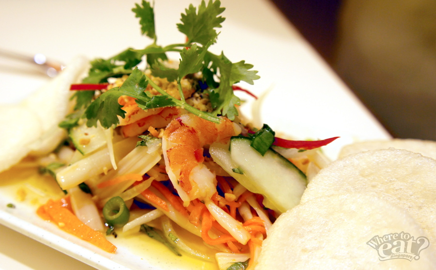 Lotus Shoot Salad with Prawns
