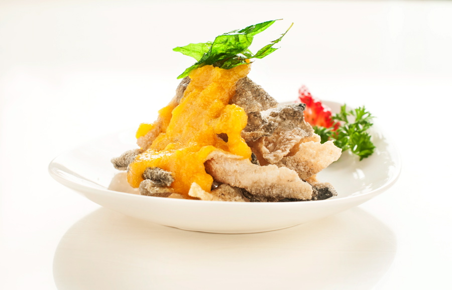Crispy Fish Skin with Salted Egg Sauce